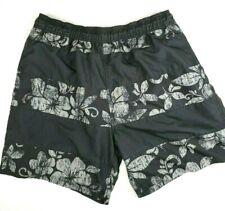 Islander Mens Swim Trunks Size L Black & Gray Striped Floral Tie Waist
