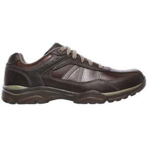 Skechers Extra Wide Fit Rovato Texon Mens Brown Leather Lace Up Shoes Size 6-10