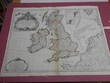 100% ORIGINALE GRANDE Isole Britanniche Mappa con Janvier c1750 colorato a mano