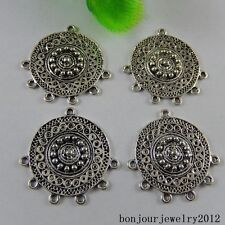 51012 Vintage Silver Alloy Beads Pattern Connector Pendant Jewelry Charms 14x