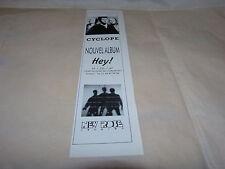 CYCLOPE - Petite Publicité de magazine / Marque-page !!!! HEY 2 !!!