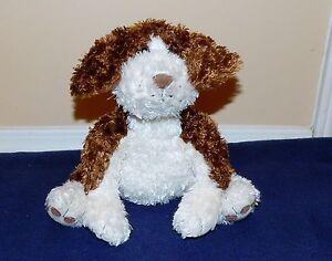 """11"""" Gund White & Brown Fluffy Furry Plush Puppy Dog BENJAMIN #976"""