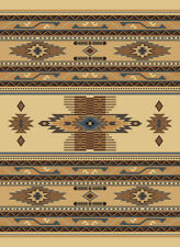 "BERBER beige SOUTHWEST 2x8 RUNNER carpet STRIPED area RUG: Actual 1' 11"" x 7' 4"""