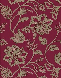 9 Metre Roll Of Harlequin Lucido Collection Avelino Wallpaper 75445 Red Gold