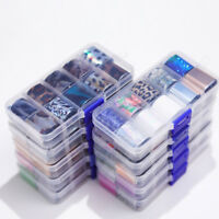 10Pcs/Box Holographics Nail Foils Stickers AB Color UV Gel Wraps Adhesive Decals