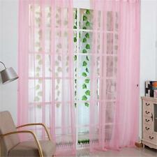 Pink Voile Sheer Curtain Panel Window Balcony Tulle Room Divider Valances New FT