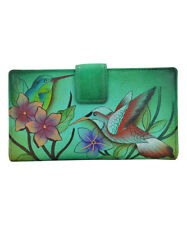 Anna by Anuschka Two Fold Organizer Wallet, 1833, Birds in Paradise Green, NWT
