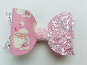 """Handmade pink sparkly Father Christmas & glitter 3"""" bow girls hair clip"""