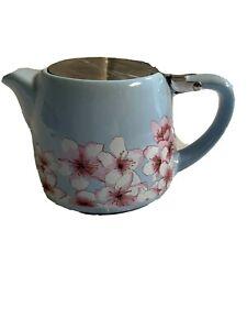 Unbranded Light Blue W/ Blossoms Individual Ceramic Tea Pot W/ Metal Flap Cover