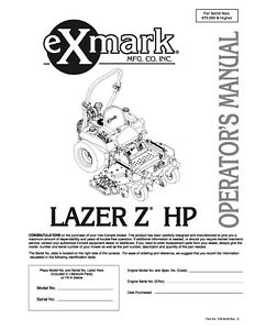 eXmark Lazer Z HP Operators Manual & Part List Diagrams Schematics LHP23KA465