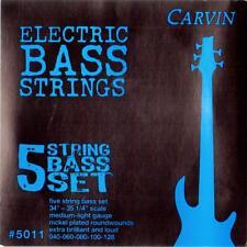 CARVIN 40-128 MEDIUM LIGHT GAUGE 5 STRING BASS STRINGS SET, MADE in USA, NEW