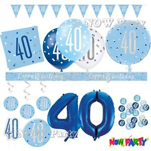 Blue 40th Birthday Party Decorations Supplies Boys Mens Balloons Banners etc