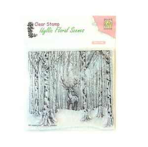 Deer in Forest Stamp Nellie Snellen clear cling craft stamps Nature,Trees IFS017