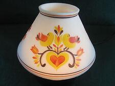 RETRO WHITE FROSTED LAMP SHADE W YELLOW/ORANGE HEART & BIRD DISIGN