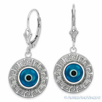 Evil Eye Bead Turkish Nazar Greek Key Mati Charm Sterling Silver Hamsa Earrings
