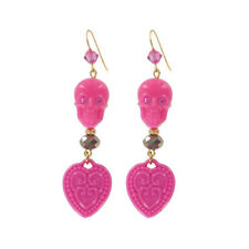 """Tarina Tarantino Happy Together """"Catrina"""" Skull Earrings Pink ~~Made in USA~~"""