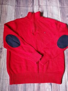 Tommy Hilfiger 1/4 Zip Pull Over Sweater Boys Sz S Elbow Patches Red Holiday