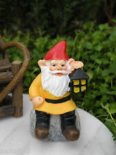 Miniature Dollhouse Fairy Garden Accessories ~ Gnome on Rock with Lantern ~ New