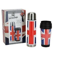 Ethos Cool Britannia Union Jack 500ml Flask & Insulated Travel Mug in Gift Box