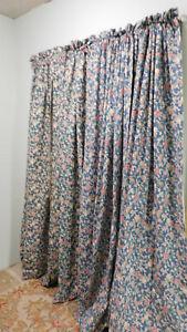 Ralph Lauren JARDIN Vintage Lined Drapes Denim Blue- 2 PAIRS AVAILABLE-COTTON