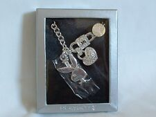 "PLAYBOY BUNNY Logo NECKLACE 16"" SILVER Plated SWAROVSKI Crystal LOVE Charms"