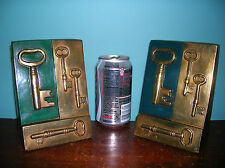 Vintage skeleton key lock locksmith bookends Marion Bronze orig. paint near mint