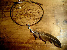 Twig wood dreamcatcher 4 inch diameter with shell, beads, rocks and feather