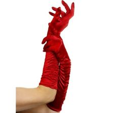 """Long Satin Look Gloves Temptress Red 20s Ladies Fancy Dress 18"""" Red New Smiffys"""