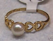 June Birthstone Pearl  Yellow Gold Ring   (253)