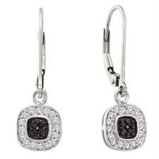 14K White Gold Black & White Diamond Earrings .25ct Dangle Leverback Earrings