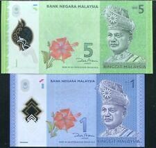 MALAYSIA SET 2 PCS 1 5 RINGGIT 2012 POLYMER P 52 UNC