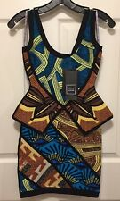 "NEW Herve Leger ""Aron"" Tribal Jacquard Peplum Dress $1890 XS"