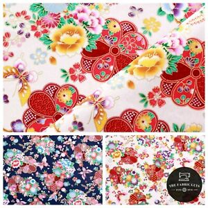 """100% Cotton Ethnic Japanese Paisley Floral Gold Foil Fabric 60"""" Wide Top Quality"""