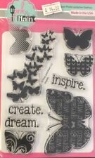 Pink and Main INSPIRE Clear Photo Polmer Stamps & free pack of gems Butterflies