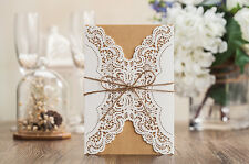 10x Elegant Laser Cut Wedding Invitation Card - White & Beige