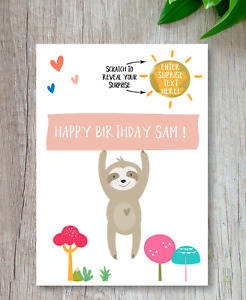 *PERSONALISED* SURPRISE BIRTHDAY Sloth CARD - birthday gift *SCRATCH CARD*
