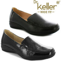 DR KELLER WOMENS WIDE FIT SHOES LADIES MOCCASIN FLAT WEDGE COMFORT CASUAL LOAFER