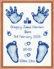 "Blue Baby Boy Birth Sampler, Hands & Feet Cross Stitch Kit 6""x8"" 16 Count"