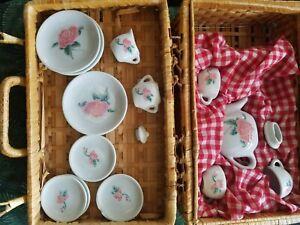 Children's Mini White and Pink Rose Floral Porcelain Tea Set 17 Piece