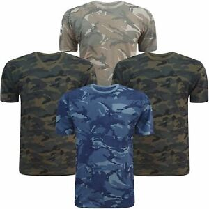 Mens Camo Short Sleeved Crew / V Neck Camouflage T Shirt Cotton Army Military