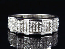 10k White Gold 6.7mm Pave Set Encrusted White Diamond Band Tidal Wave Ring .40Ct