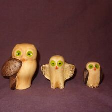 "Vintage Set 3 Owls Brown Green Eyes 3"" Ceramic Portugal"