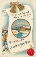 New Year~Town Crier Rings Bells Atop Scroll Proclamation~Red Seal~Gold Emboss