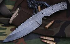 Custom Ladder Damascus Steel Drop Point Blank Blade A46 For Hunting Knife