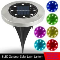 8LED Solar Flat Buried Light In-Ground Lamp Outdoor Pathway Garden Decking Lamp