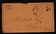 $ Stampless cover, Fort Plain NY 1852 Paid 3, Bank Enclosure