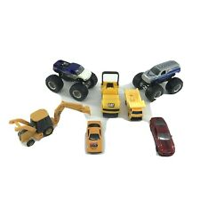 Toy Car Bundle Of 7 Small Vehicles Monster Trucks Construction Etc -AD
