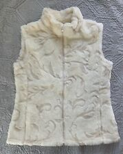 Cute Women's Coldwater Creek Winter Faux Fur Vest Cream Floral Pattern Small