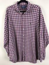 Ralph Lauren Mens Button Front Long Sleeve Plaid Shirt Size XL FLAW