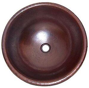 """17"""" Round Hand-Hammered Natural Bathroom Copper Sink"""